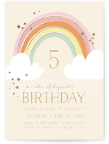 This is a brown kids birthday invitation by Kiersten Garner called Rainbow Birthday with foil-pressed printing on signature in standard.