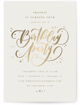 This is a beige kids birthday invitation by Anastasia Makarova called birthday swirls with foil-pressed printing on signature in standard.