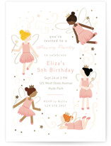 This is a pink kids birthday invitation by JeAnna Casper called Fairyland with foil-pressed printing on signature in standard.