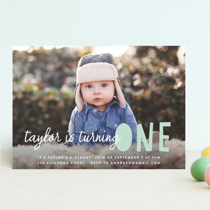"""Bright Future"" - Editor's Picks Children's Birthday Party Invitations in Cool Mint by annie clark."