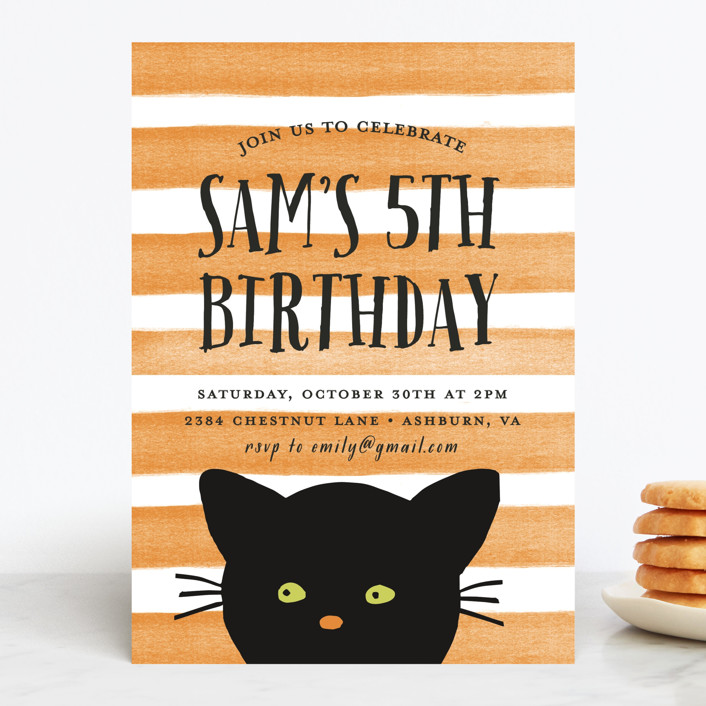 """Striped Cat"" - Children's Birthday Party Invitations in Candy Corn by August and Oak."