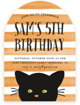 This is a orange kids birthday invitation by August and Oak called Striped Cat with standard printing on signature in standard.