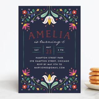 Folk Florals Children's Birthday Party Invitations