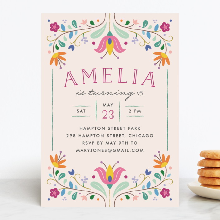 """Folk Florals"" - Children's Birthday Party Invitations in Navy by Amber Barkley."