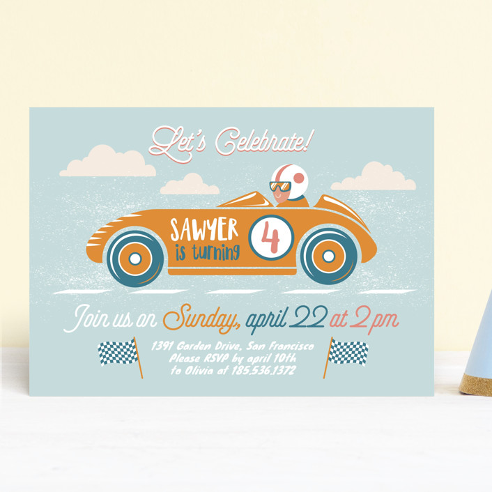 """""""Speed time"""" - Children's Birthday Party Invitations in Blush by Igor."""