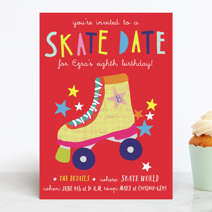 """""""Skate Date"""" - Children's Birthday Party Invitations in Ruby by Krista Messer."""