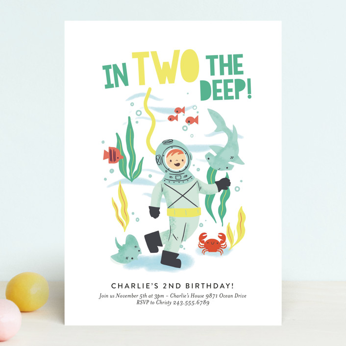 """""""Deep Dive"""" - Children's Birthday Party Invitations in Sea Green by Itsy Belle Studio."""