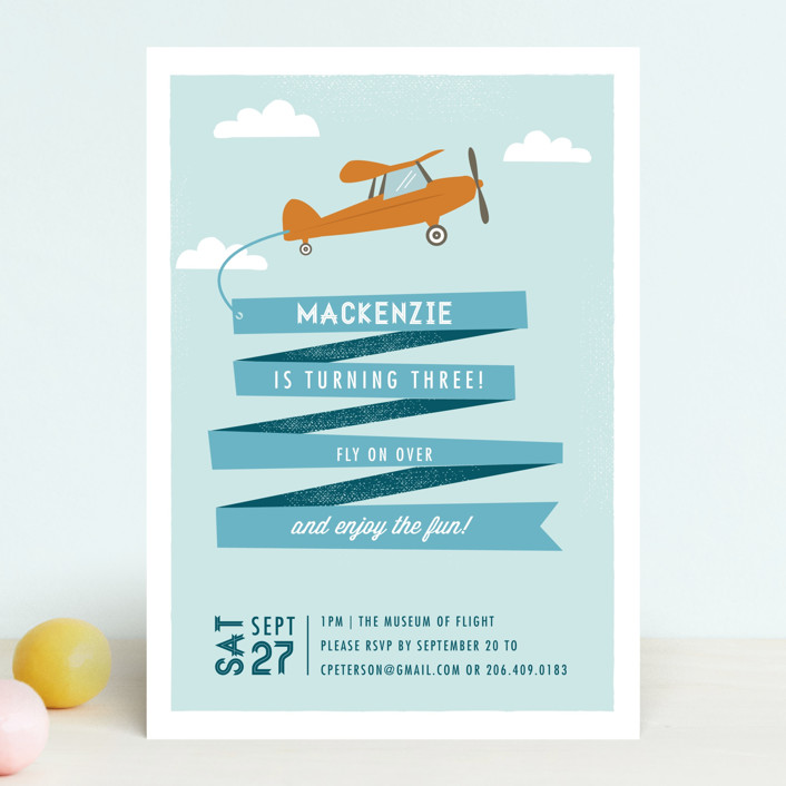 """Airplane News Stream"" - Children's Birthday Party Invitations in Sky by Karidy Walker."