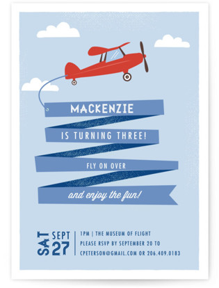 Airplane News Stream Childrens Birthday Party Invitations By Karidy Walker