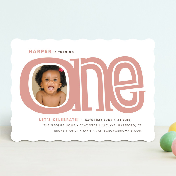"""Big One"" - Children's Birthday Party Invitations in Dusty Rose by Snow and Ivy."
