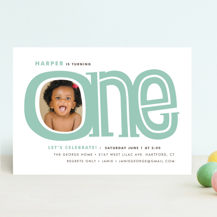 """""""Big One"""" - Children's Birthday Party Invitations in Dusty Rose by Snow and Ivy."""
