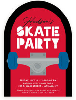 This is a red kids birthday invitation by Kacey Kendrick Wagner called Skateboard with standard printing on signature in standard.