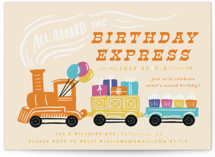 This is a orange kids birthday invitation by Shiny Penny Studio called The Birthday Express with standard printing on signature in standard.