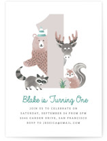 This is a blue kids birthday invitation by Kampai Designs called Woodland with standard printing on signature in standard.