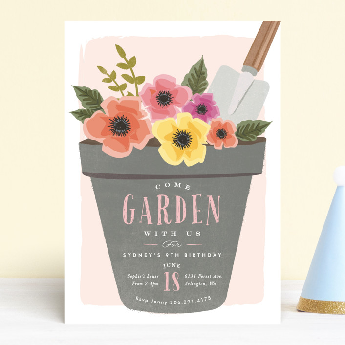 """""""garden party flower pot"""" - Children's Birthday Party Invitations in Peony by Karidy Walker."""