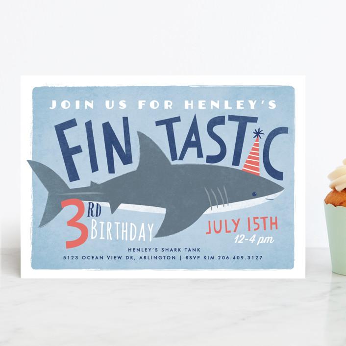 """Shark Tank"" - Children's Birthday Party Invitations in Sky by Karidy Walker."