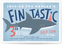 This is a blue kids birthday invitation by Karidy Walker called Shark Tank with standard printing on signature in standard.