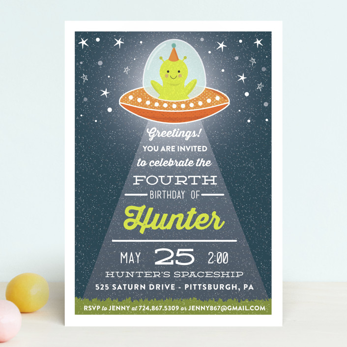 """Greetings, Earthlings."" - Children's Birthday Party Invitations in Neptune by One Swell Studio."