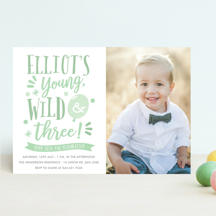 """Wild & Free"" - Children's Birthday Party Invitations in Mint by Oma N. Ramkhelawan."