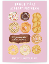 This is a colorful kids birthday invitation by Shiny Penny Studio called Donut Miss The Party with standard printing on signature in standard.