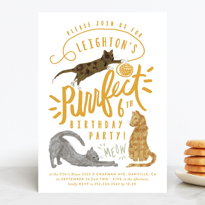 """Purrefect Kittens"" - Children's Birthday Party Invitations in Voilet by Shiny Penny Studio."