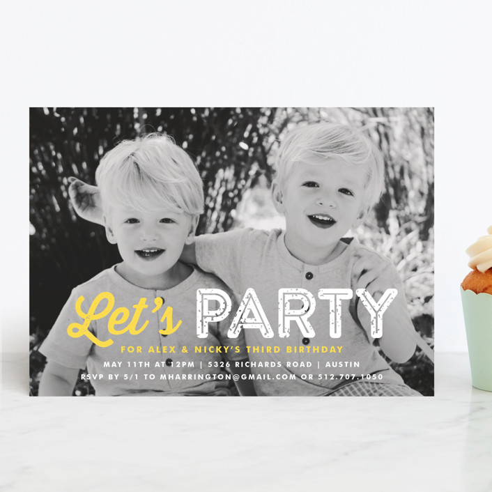 """Just Be"" - Children's Birthday Party Invitations in Sunshine by Lauren Chism."