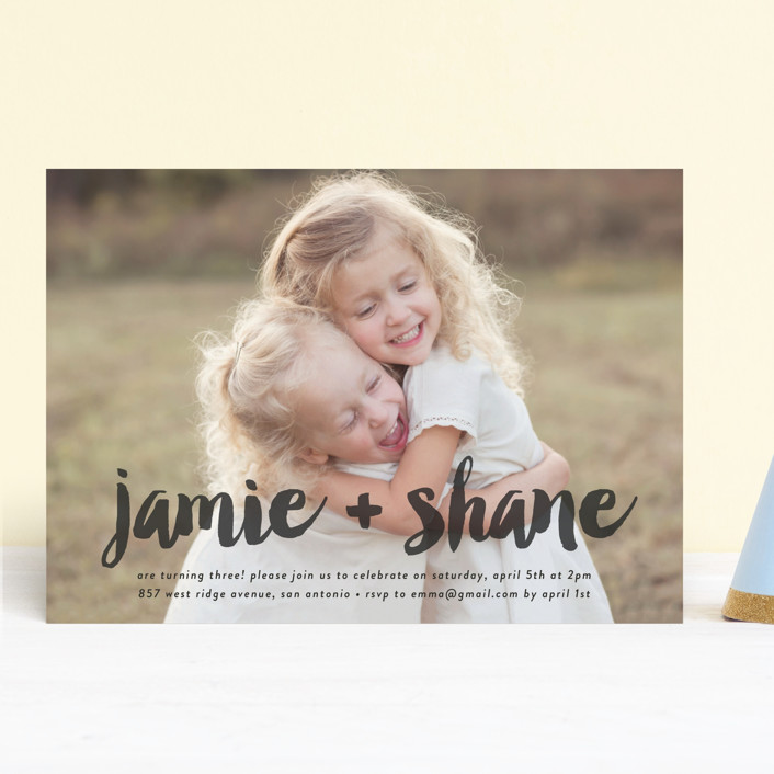 """""""Double Painted"""" - Children's Birthday Party Invitations in Charcoal by Chasity Smith."""