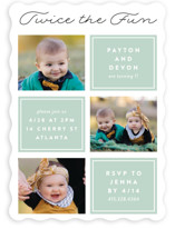 This is a green kids birthday invitation by Erica Krystek called Twin Joy with standard printing on smooth signature in standard.