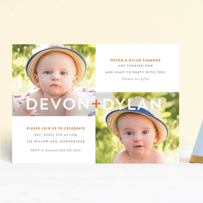 """Plus"" - Children's Birthday Party Invitations in Tangerine by Olivia Raufman."