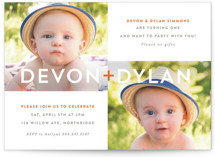 This is a orange kids birthday invitation by Olivia Raufman called Plus with standard printing on smooth signature in standard.