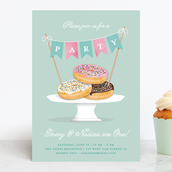 """Everyone Loves Donuts"" - Children's Birthday Party Invitations in Neptune by Kerry Doyle - Paper Dahlia."