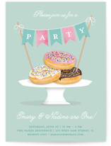This is a blue kids birthday invitation by Kerry Doyle - Paper Dahlia called Everyone Loves Donuts with standard printing on signature in standard.