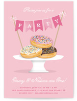 This is a pink kids birthday invitation by Kerry Doyle - Paper Dahlia called Everyone Loves Donuts with standard printing on signature in standard.