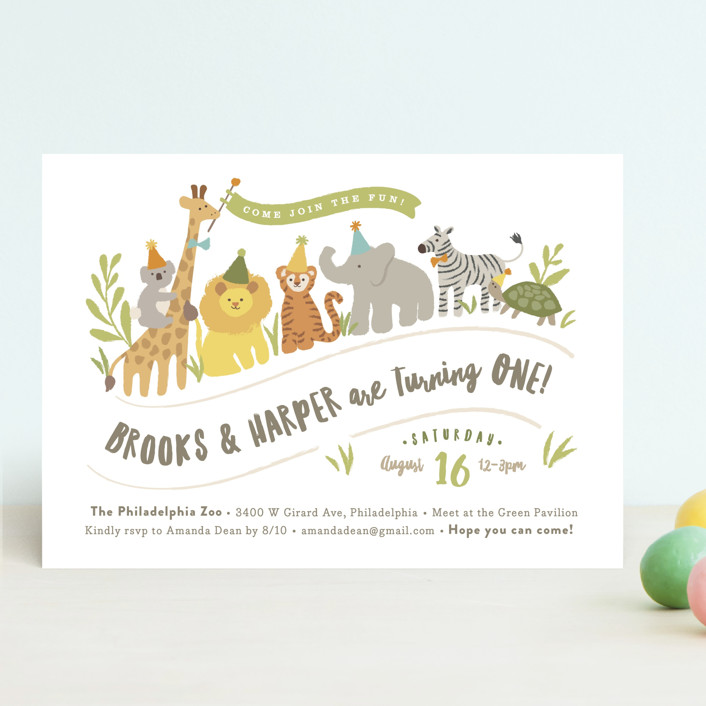 """Animals on parade"" - Children's Birthday Party Invitations in Pear by Jennifer Wick."