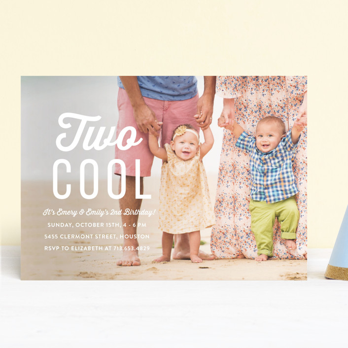 """Two Cool"" - Children's Birthday Party Invitations in Cotton by Susan Asbill."