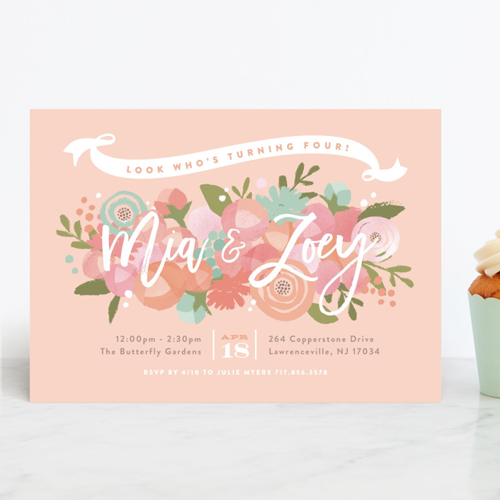 """Blooming Peonies"" - Children's Birthday Party Invitations in Peach by Jennifer Wick."