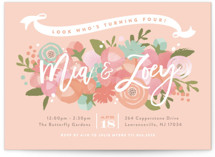 This is a orange kids birthday invitation by Jennifer Wick called Blooming Peonies with standard printing on signature in standard.