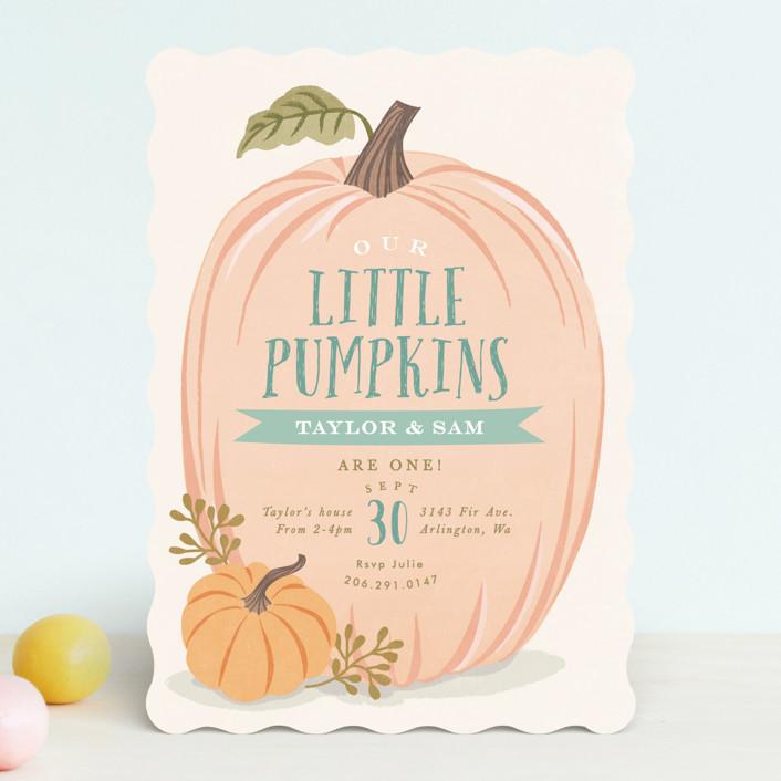 """Autumn Pumpkin"" - Children's Birthday Party Invitations in Leaf by Karidy Walker."
