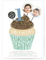 This is a blue kids birthday invitation by Alethea and Ruth called Cupcake Topper with standard printing on smooth signature in standard.