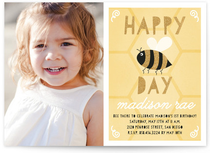 Happy Bee Day Children's Birthday Party Invitations