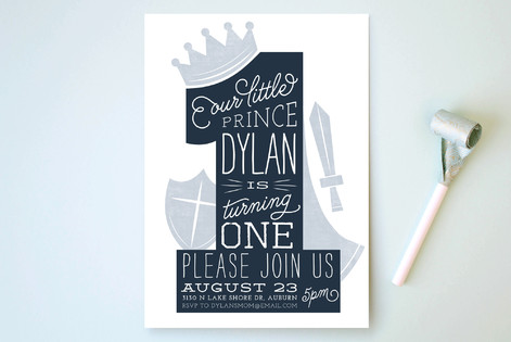 One Prince Children's Birthday Party Invitations