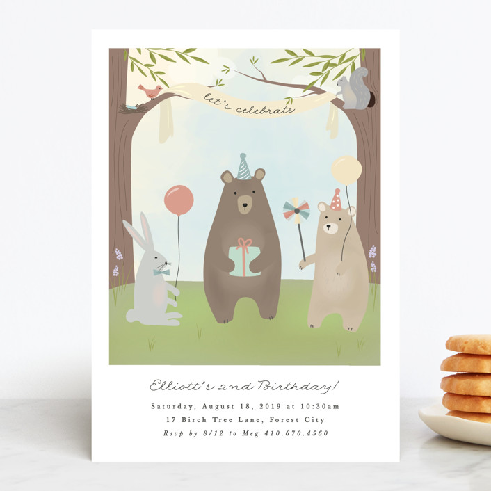 """bears birthday party"" - Children's Birthday Party Invitations in Mint by Faith Dorn."
