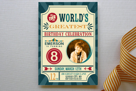 The Worlds Greatest Birthday Circus Party Children's Birthday Party Invitations