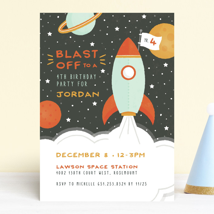"""""""Blast Off"""" - Children's Birthday Party Invitations in Moon by Michelle Taylor."""