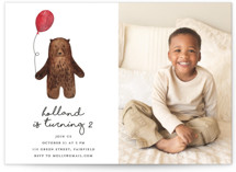 This is a brown kids birthday invitation by Remioni called Bear with standard printing on smooth signature in standard.