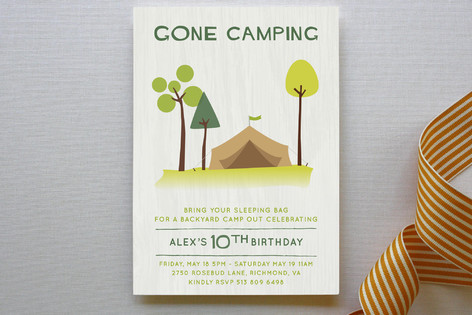 gone camping childrens birthday party invitations - Camping Party Invitations