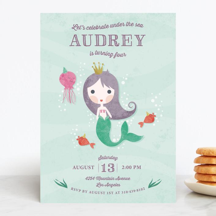 """Mermaid Princess"" - Children's Birthday Party Invitations in Wisteria by Aspacia Kusulas."
