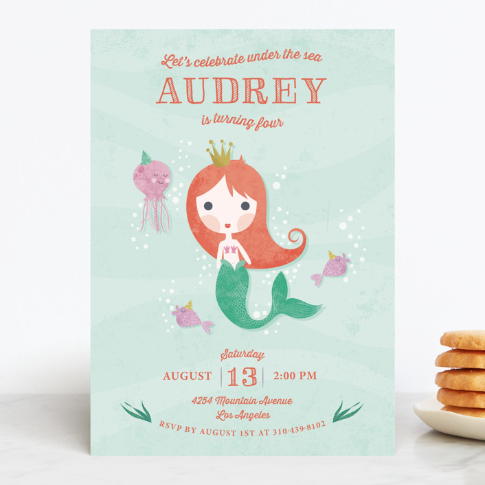 """Mermaid Princess"" - Children's Birthday Party Invitations in Wisteria by Aspacia Kusulas."
