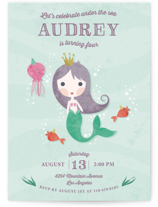 mermaid kids birthday party invitations minted