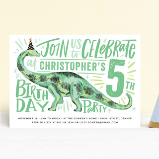 Dino Party Hat Children's Birthday Party Invitations